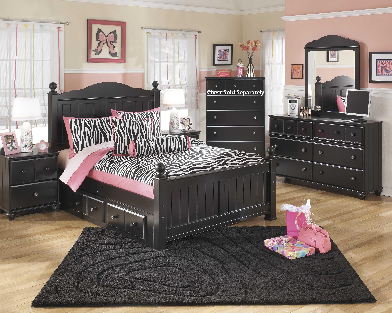 Furnituremaxx.com Jaidyn Youth Wood Poster Storage Bed Room Set in Rich Black Finish Full Bed Dresser Mirror Nightstand