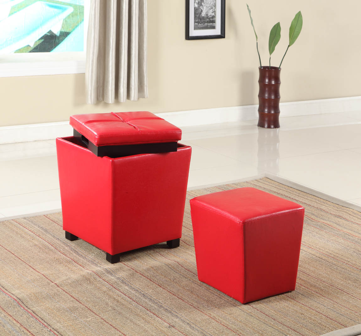 Furnituremaxx.com Fun Color 2 in 1 Storage Ottoman w/ Stool Bloody Red