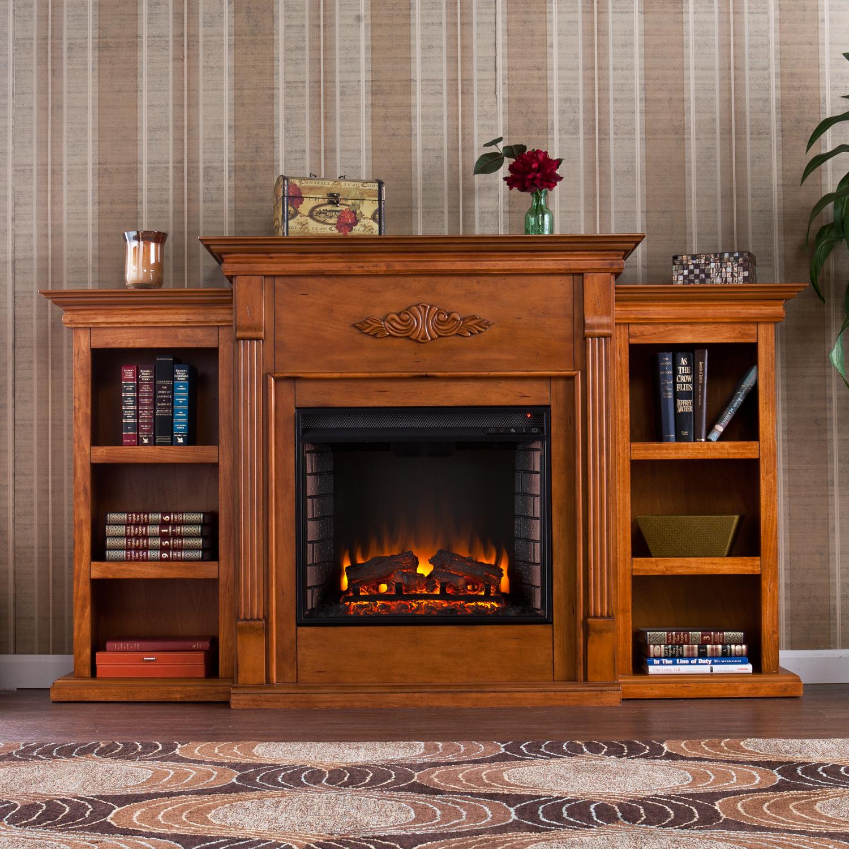Furnituremaxx.com Electric Fireplace with Open Bookcase Glazed Pine