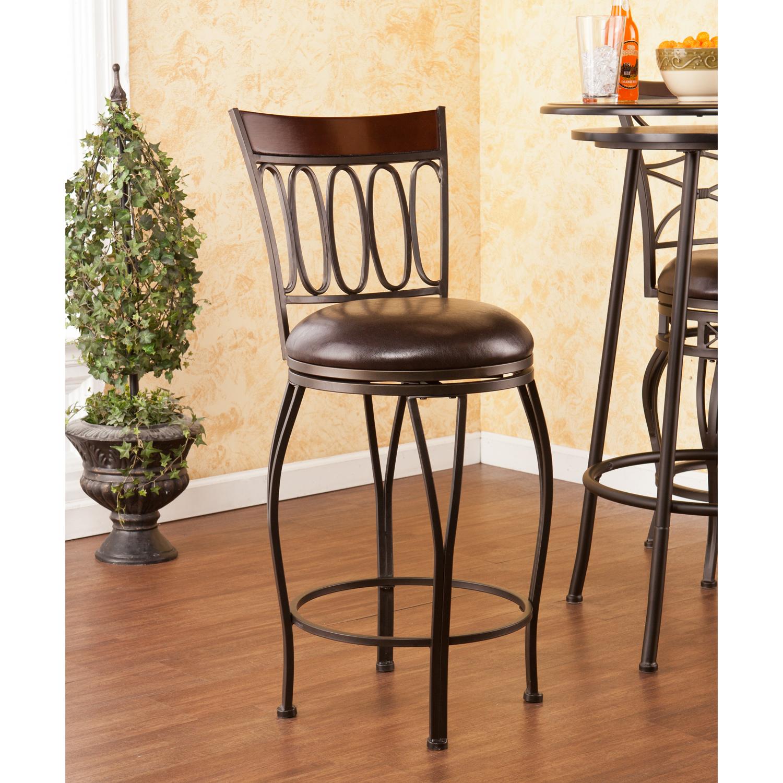 Furnituremaxx.com Brookshire Swivel Counter Stool in Dark Champagne Frame with Dark Brown Seat